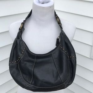 Fossil black leather shoulder bag amazing detail